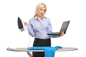This busy woman is reading my steam iron reviews right now!